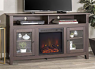 Walker Edison WE Furniture 58 Wood Highboy Style TV Stand Fireplace Console, Espresso