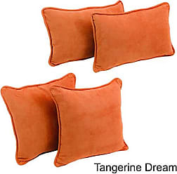 Blazing Needles 9819-S4-CD-MS-TD Double-Corded Solid Microsuede Throw Pillows with Inserts, Tangerine Dream, Set of 4
