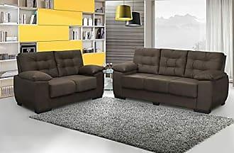 Cama inBox Conjunto de Sofá Luxemburgo 3 e 2 Lugares Tecido Suede Amassado Café - Moveis Marfim