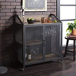 Walker Edison WE Furniture AZU33SOIBCRO Bar Cabinet, 33 L x 17 W x 38 H, Rustic Oak