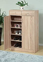 Benzara Adorning Shoe Adjustable Shelves, Brown Cabinet