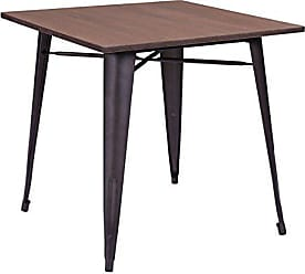 Zuo 109124 Titus Dining Table, Rustic Wood, Has a Bamboo top with a Solid Steel Frame in a Faux Rust Galvanized Steel Finish, 250 lbs Weight Capacity, Dimensions 31.9 W x 29.5 H x 31.9 L
