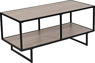 Flash Furniture Midtown Collection Sonoma Oak Wood Grain Finish TV Stand with Black Metal Frame