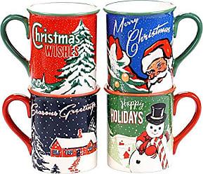 Certified International Retro Christmas Mugs (Set of 4), 16 oz, Multicolor