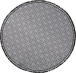 Linum Home Textiles Manami Round Pestemal Beach Towel, 60 Diameter, Black/White