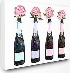 Stupell Industries The Stupell Home Décor Collection Black Pink Purple and Blue Champagne Bottles with Peonies Stretched Canvas Wall Art, 16 x 20, Multi-Color