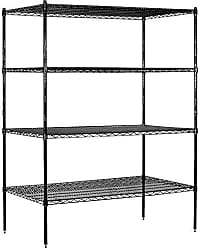 Salsbury Industries Stationary Wire Shelving Unit, 60-Inch Wide by 74-Inch High by 24-Inch Deep, Black