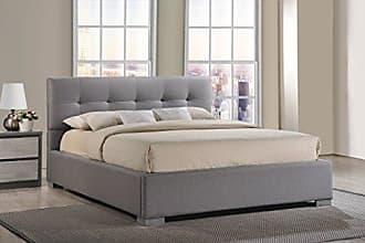 Wholesale Interiors Baxton Studio BBT6482-Queen-Grey Regatta Modern & Contemporary Fabric Upholstered Platform Bed, Queen, Grey