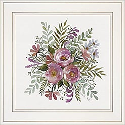 Trendy Decor 4 U Trendy Decor4U Floral Spray II by Cindy Jacobs, Ready to Hang, White Framed Prints Taupe Colors