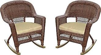 Jeco W00205R-C_2-FS006 Rocker Wicker Chair with Tan Cushion, Set of 2, Honey