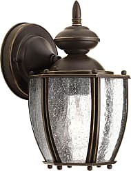 PROGRESS Roman Coach Antique Bronze 1-Lt. wall lantern with Clear seeded glass curved panels
