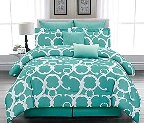 Duck River Textile Home Maison Rhys Hotel Quality Luxury Comforter Duvet Insert Cover Hypoallergenic | 7 Piece Set | Geometric Collection, | King Size |, Dusty Teal