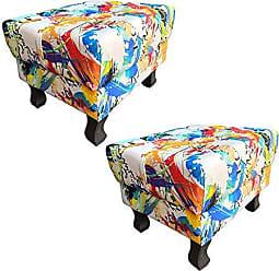 Nay Multicoisas Kit 02 Puffs Banqueta Retrô Luis XV Suede Color - Nay Estofados