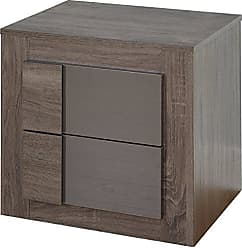 Target Marketing Systems Two-Toned Eden Nightstand with 2 Drawers, Dark Sonoma Oak/High Gloss Gray