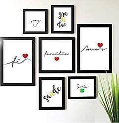 Los Quadros Kit de Quadros Decorativos 7 Peças Família Amor Fé Los Quadros Preto