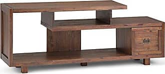 Simpli Home Simpli Home AXCMON-08 Monroe Solid Acacia Wood 60 inch wide Rustic TV media Stand in Distressed Charcoal Brown For TVs up to 65 inches