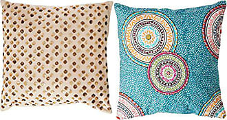 Rizzy Home T-4184 Decorative Pillows, 18 by 18-Inch, Teal/Orange/ Purple