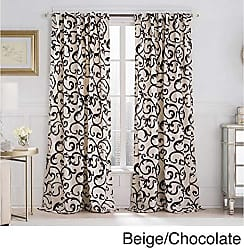 VCNY Home VCNY Brandy Flocked Back Tab Panel 54 Inch X Beige/Chocolate