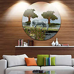 DESIGN ART Designart White Horse and Green Trees-Landscape Round Wall Art - Disc of 38 38x38-Disc of 38 inch