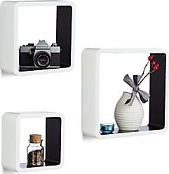 Relaxdays Hängeregal Cube 3er Set, Wandboard Freischwebend, Wandregal Holz,  Quadratisch, MDF,
