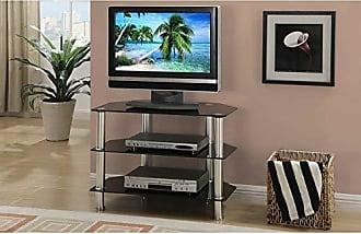 Benzara BM166686 Metal & Glass Tv Stand with Shelves, Black & Silver