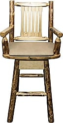 Montana Woodworks MWGCBSWSCASBUCK Glacier Country Collection Captains Barstool with Back & Swivel with Upholstered Seat, Buckskin Pattern