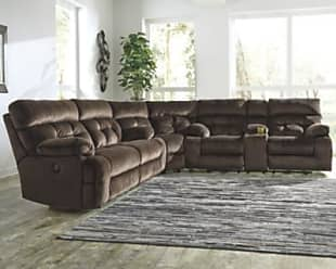 Ashley Furniture Brassville 3-Piece Reclining Sectional with Power, Chocolate
