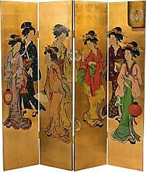 Oriental Furniture 6 ft. Tall Golden Geisha Screen