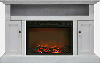 Cambridge Silversmiths CAM5021-2WHT Sorrento Mantel with Electronic Fireplace Insert, White