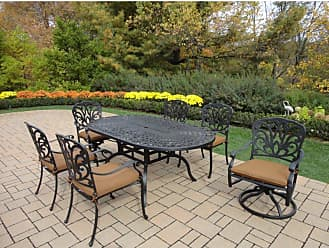 Oakland Living Outdoor Oakland Living Hampton 72 x 42 in. Patio Dining Set With Sunbrella Cushions - 7214-7201-7202-13-D54-AB