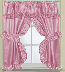 Sweet Home Collection Fabric Bathroom Curtain 70 x 45 Hotel Quality Window Treatment Set of Two Durable Panels with Pair of Tiebacks, Rose