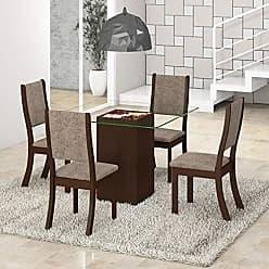 Viero Conjunto para Sala de Jantar Mesa e 4 Cadeiras Viero Via Choco/Canela