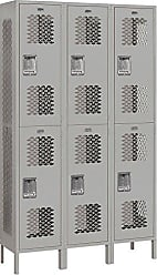 Salsbury Industries Assembled 2-Tier Extra Wide Vented Metal Locker with Three Wide Storage Units, 6-Feet High by 15-Inch Deep, Gray