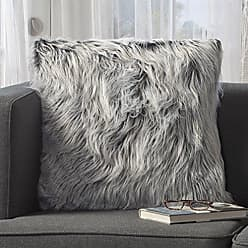 GDF Studio Christopher Knight Home 301696 Priscilla Silver Grey Furry Throw Pillow (Single), Twin