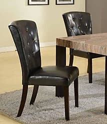 Round Hill Furniture Big and Thick Black Button Back Dining Parsons Chairs, Set of 2