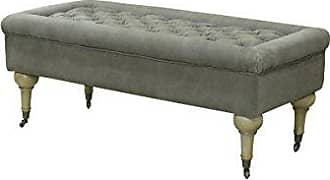 Pangea Home Z White and Frost Grey Robert Bench in Fabric Antique