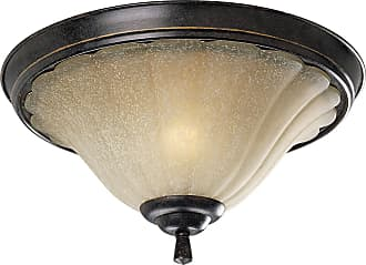 PROGRESS P3598-84 Two-light close-to-ceiling in Espresso finish with weathered sandstone glass
