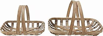 Creative Co-op Wood Tobacco Baskets with Handles (Set of 2 Sizes)