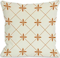One Bella Casa Crisscross Flowers Throw Pillow Cover by OBC, 18x 18, Ivory/Orange