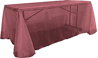 LA Linen Sheer Organza Rectangular Tablecloth, Burgundy, 90 by 132