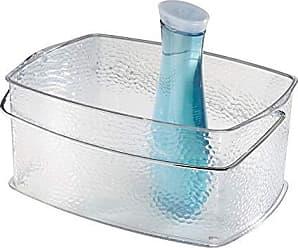 InterDesign Rain Bathroom Vanity Organizer Basket for Heath and Beauty Products/Supplies, Towels - Medium, Clear
