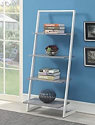 Convenience Concepts 111289C1WF Graystone 4-Tier Ladder Bookcase, Faux Birch/White Frame