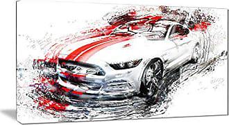DESIGN ART Digital art PT2613-32-16 White & Red Sports - Car Canvas Art Print 32x16