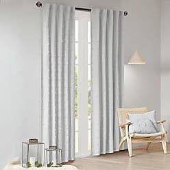 Urban Habitat Brooklyn Pom Blackout Curtain 100% Cotton Jacquard Window Panel Darkening Drape for Living Room Bedroom and Dorm, 42 x 95, Grey