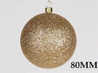Queens of Christmas WL-ORN-BLKG-80-GO-W 80mm Glitter Gold Ball Ornament with Wire (Pack of 12)