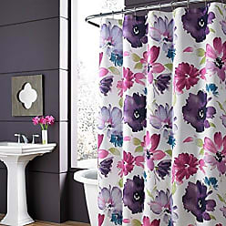 Five Queens Court Mia Watercolor Large Scale Floral Print Shower Curtain, Fuchsia
