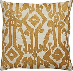 Jaipur Tribal Pattern Ivory/Yellow Cotton Down Filled Pillow (18x18)