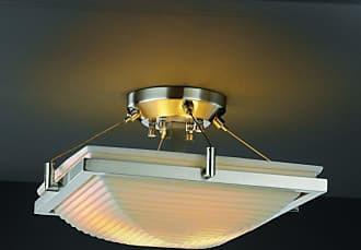 Justice Design PNA-9780 Ring 14 in. Square Semi-Flush Bowl with Sawtooth Shade - PNA-9780-25-SAWT-NCKL-LED2-2000