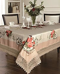 Violet Linen Decorative Printed Ascott Tablecloth with Lace Trimming, 70 X 120, Ivory