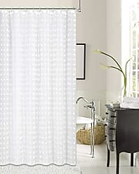 Dainty Home Cut Flower Linen Look Fabric Shower Curtain White